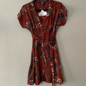 Angie Maroon Floral Button Short Dress NWT S